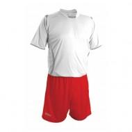 Echipament fotbal alb rosu GECO