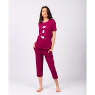 Pijama femei Counting Sheeps Bordo