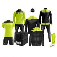Echipament fotbal complet, Box Vesuvio - Negru / Galben Fluo, ZEUS